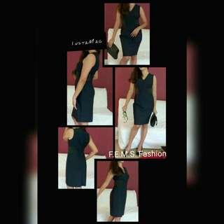 Elegant sexy dark blue dress