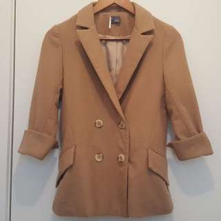 Urban Outfitters tan winter boyfriend blazer