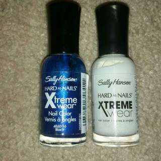 White and blue xtreme nail strengthener nail polish