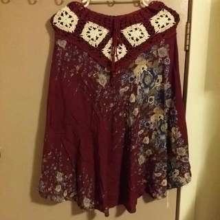 Maroon Floral Skirt!!