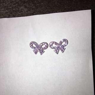 Purple Bow Earrings