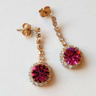 Fuchsia Jewel Drop Earrings