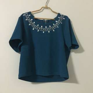 Green/Blue Crop Top Size Small