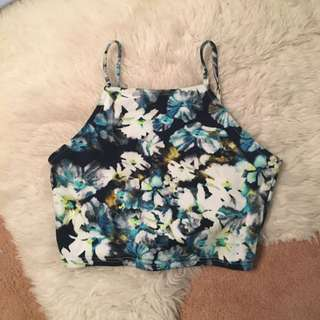 ICE - Blue, Flowery Crop Top