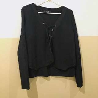 Pepper Mayo Black Knit Top