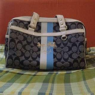Coach Signature Heritage Stripe Gray Black Zip Satchel Tote Handbag