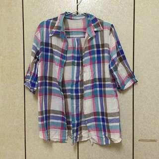 [🔻二手]繽紛格紋五分袖襯衫