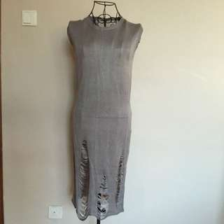 Grey Knitted Dress For Summer