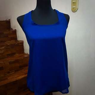 Blue two-piece sheer top