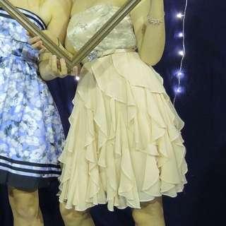Strapless Embellished Ruffle Formal Dress