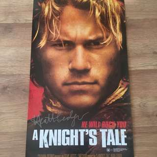 [RARE] A KNIGHT'S TALE HEATH LEDGER  Signed Movie Poster Hoyts
