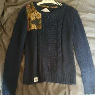 Asos Knit Vintage Style Floral Navy Jumper