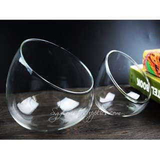Terrarium Container: Transparent Oblique Flat Bottom Glass Vase