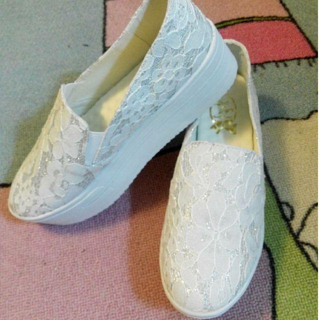 蕾絲小白厚底鞋