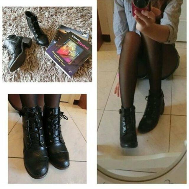 黑色高統牛津靴