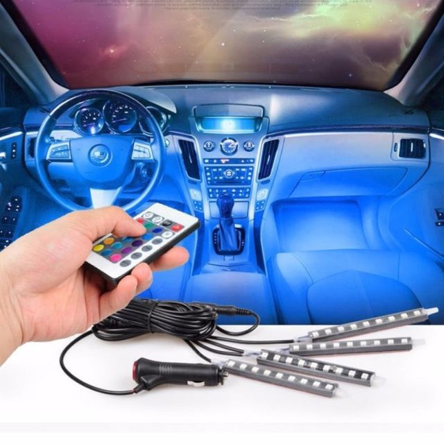 ★★ 4 Strips with 9 X 5050 SMD  RGB LED Car Interior Floor Decorative Atmosphere LED Light Strip + IR Remote Control (Color: Multicolour) ★★ Easy Installation – Plug and Play ★★