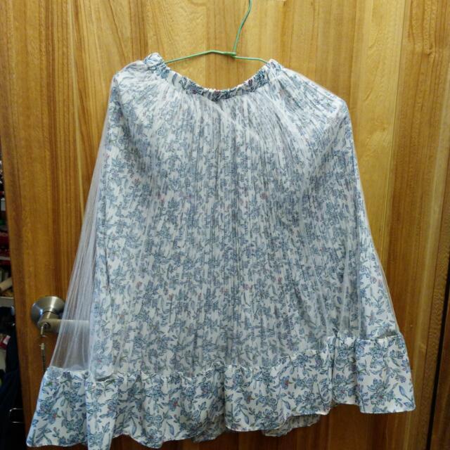 拍照展示服  韓國 蝴蝶碎花多層次長裙