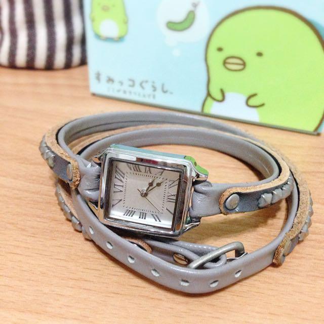 韓風 灰色 環繞 纏繞 綁帶 手錶