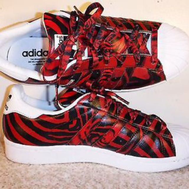 Adidas Originals Superstar Camo Rose Print White/Blk/Red Women's Shoes Size US6(PENDING)