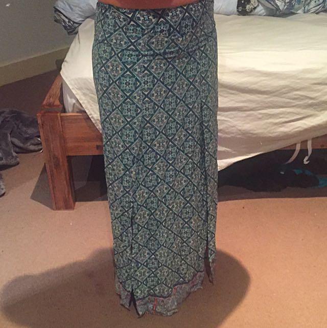 Blue Tribal Patterned Maxi Skirt