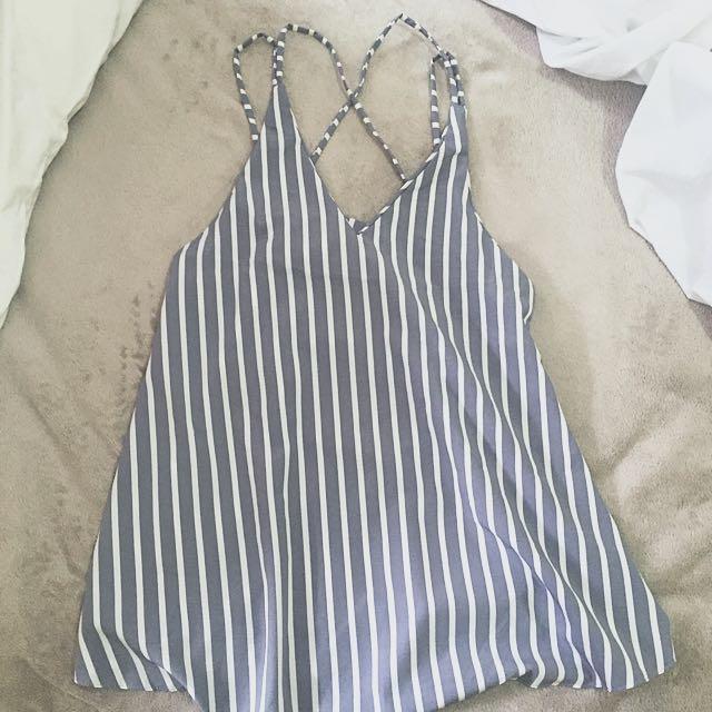 BN Striped Cross Back Sleeveless Top In Grey