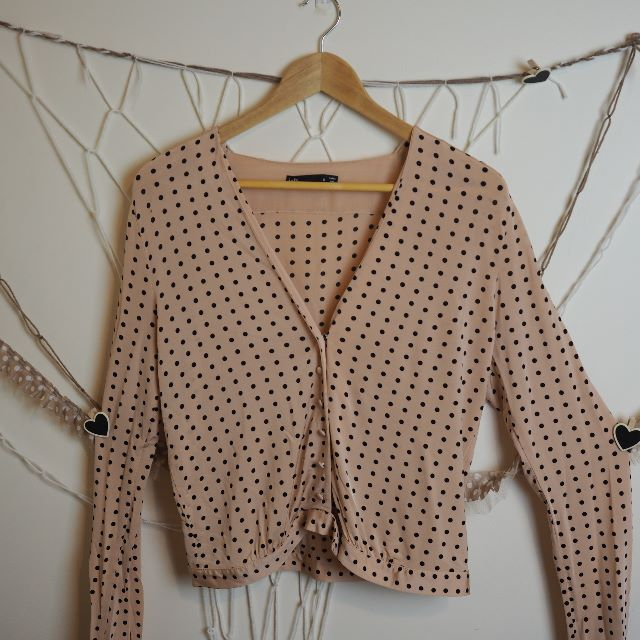 Dotti Pink and Black Polka Dot Cardigan Size 10