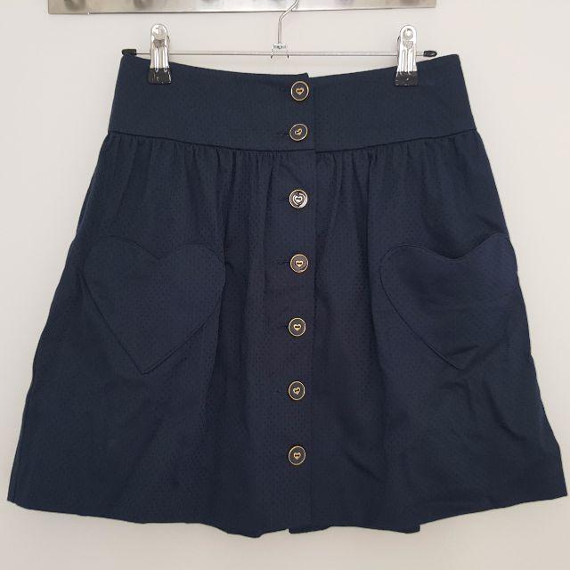 Forever New teal heart pocket skater skirt