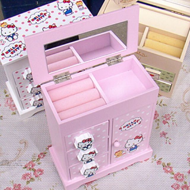 Hello Kitty Wooden Casket White And Pink Furniture On Carousell