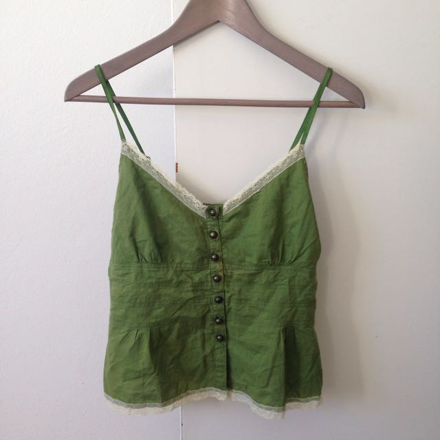 Khaki Button-front Top