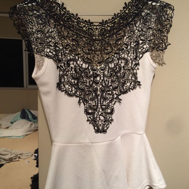 Lace Chest Shirt. Flare Midwaist