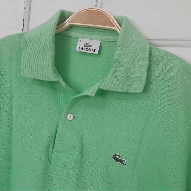 保證真品Lacoste 4號,蘋果綠polo衫,約8~8.5成新,版型偏小約3號