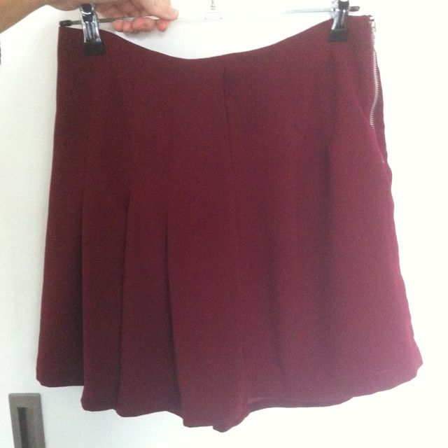 Maroon Pleated Skirt