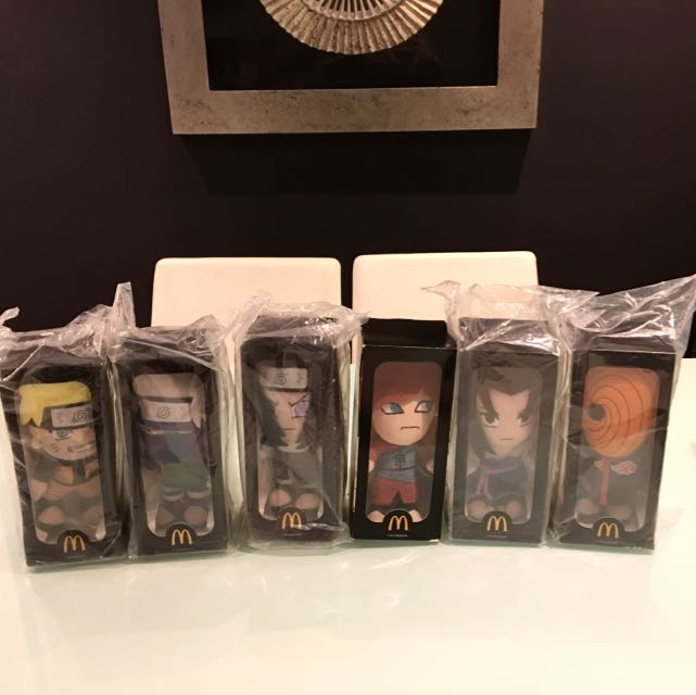 Naruto Soft Toys - Complete Of 6 Different Naruto Series Soft Toys from 2013 Overseas McDonald Gift!