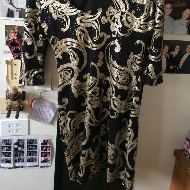 Sequin Black And Gold Formal Dress