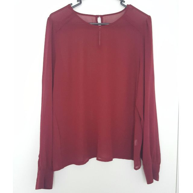 Sportsgirl sheer chiffon wine long sleeve office blouse
