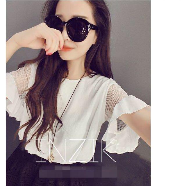 韓版甜美雪紡網紗鏤空拼接短款T恤 白色