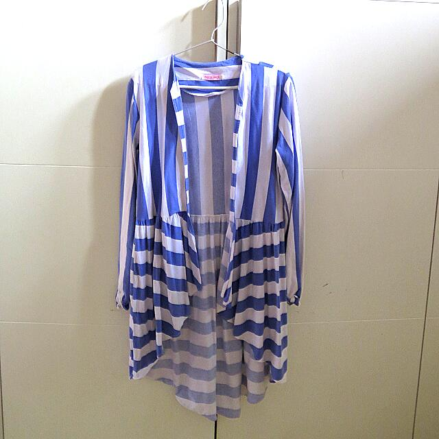 White & Blue Stripe OUTERWEAR