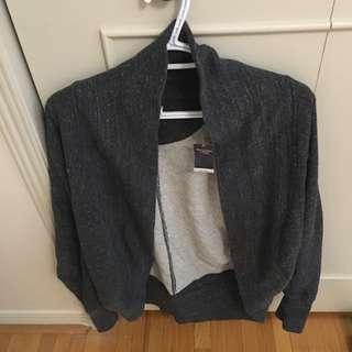 Dark Gray Cocoon Open Sweatshirt