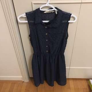 Navy Polka Dotted Dress