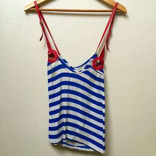 Striped Top with Leather Cross OverDetail