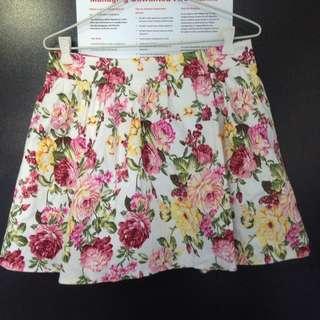 High Waisted Floral Skater Skirt