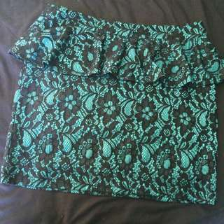 Size 12 - Green & Black Lace Skirt