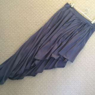 Size L - Navy Side Mullet Skirt