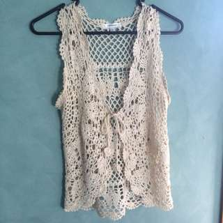 Size L - Cream Crochet Vest