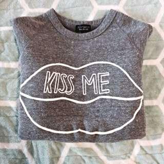 "Top Shop ""Kiss Me"" Long Sleeve Shirt"