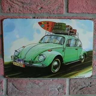 Vintage Looking Volkswagon Beetle Metal Plate