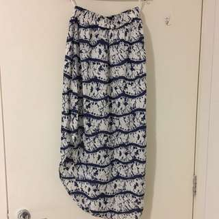 Blue Patterned Maxi Skirt