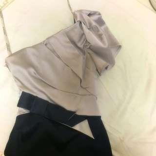 Karen Millen Dinner Dress Silver & Black