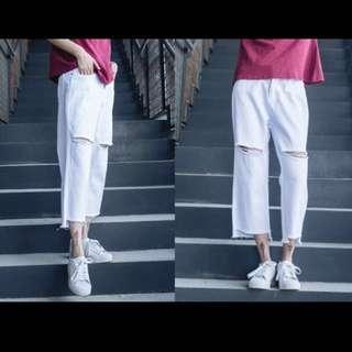 X.O.X.O. 韓國boyish街拍風格大破洞白色牛仔寬褲 破褲 闊腿褲