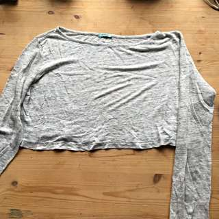 Kookai Grey Loose Crop Top